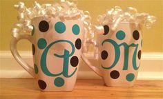 Custom gift personalized monogrammed coffee cup mug. $6.99, via Etsy.  you choose colors :)