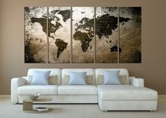 push pin world map wall art canvas extra large world map canvas 598 Diy Bedroom Decor For Teens, Diy Living Room Decor, Living Room Art, Large Canvas Wall Art, Extra Large Wall Art, Map Canvas, Travel Wall Decor, Wall Art Decor, Home Decoration Brands