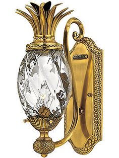 Antique Wall Sconce. Plantation Entry Light With Clear Optic Glass