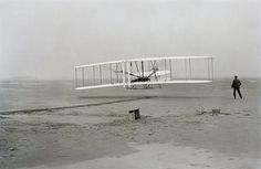 On December 17, 1903, the Wright Brothers make their first powered and heavier-than-air flight in the Wright Flyer at Kitty Hawk, North Carolina.