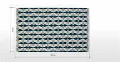 Etruria geweven vloerkleed 120 x 180cm, donkerturkoois | made.com