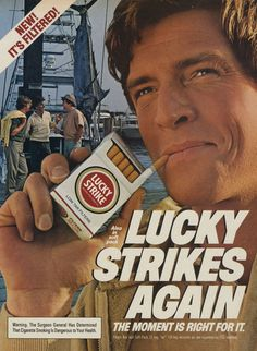 Items similar to 1983 Lucky Strike Cigarettes Ad Man Smoking Shipyard Photo Vintage Tobacco Advertisement Print Wall Art on Etsy Vintage Cigarette Ads, Vintage Ads, Vintage Signs, Man Smoking, Cigar Smoking, Strikes Again, Print Advertising, Old Toys, Over The Years