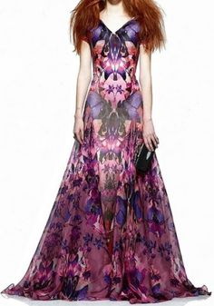 Purple Floral Pre-fall 2010  Alexander McQueen  ........ this dress would be perfect for my daughter. Love the design.