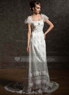 Wedding+Dresses+-+$225.99+-+Sheath/Column+Square+Neckline+Chapel+Train+Tulle+Charmeuse+Wedding+Dress+With+Lace+Beadwork+Crystal+Brooch+(002012089)+http://jenjenhouse.com/Sheath-Column-Square-Neckline-Chapel-Train-Tulle-Charmeuse-Wedding-Dress-With-Lace-Beadwork-Crystal-Brooch-002012089-g12089