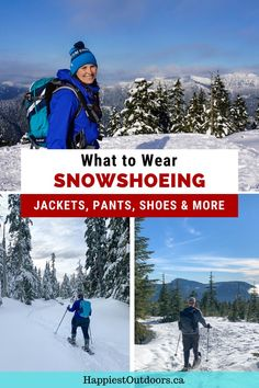 What to wear snowshoeing. Learn which pants, jackets, shoes, and accessories are best to wear snowshoeing. What to wear winter hiking. Snowshoeing outfit. Winter hiking outfit. Best jacket for snowshoeing. Snowshoeing pants. Hiking Gear, Hiking Boots, Winter Hiking, Winter Camping, Winter Tights, Winter Sports, Travel Bags, Trail Guide, Outdoor Gear