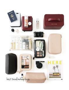 Best travel makeup bags the beauty look book packing tips what s in my carry on tote Beauty Case, Beauty Book, Packing Tips For Travel, Packing Ideas, Packing Lists, Travel Packing Outfits, Best Travel Bags, Best Travel Gifts, Carry On Packing