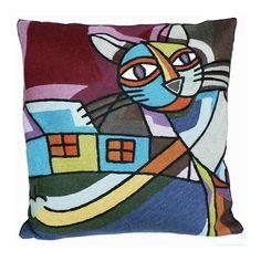 Dit schitterende wollen kussen Picasso kat is geproduceerd volgens de traditionele technieken, handgeborduurd in Kashmir in 100% wol in de kettingsteek en natuurlijk geverfd.Geinspireerd op de beroemde kunstenaar Pablo Picasso.