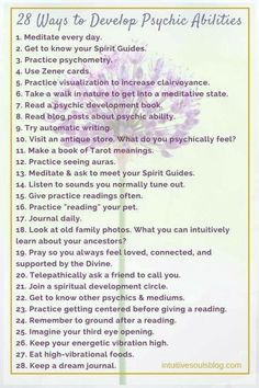 There are lots of ways to develop your psychic and mediumship abilities. Here's a list of some of the different ways that you can practice opening up your gifts. :) Read the full post with explanations here: 28 Psychic Development Tips Witchcraft For Beginners, Wicca For Beginners, Psychic Development, Spiritual Development, Tarot Learning, Psychic Mediums, Psychic Abilities, Psychic Powers, Book Of Shadows