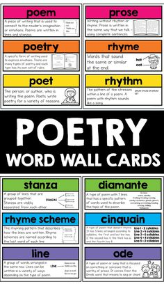 Poetry word wall cards teaches your students poetry genre!  These word wall cards includes a description of an important poetry term and includes a picture cue to help students remember that specific term. Reading Bulletin Boards, Poetry Unit, Complete Sentences, Teaching Writing, Teacher Resources, How To Introduce Yourself, Poems, Students, Wall