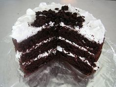chocolate white out cake, sugar syrup frosting