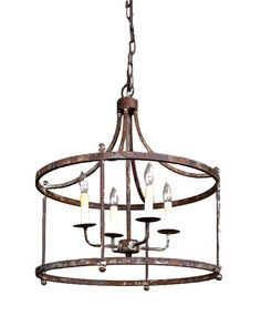"The Park Hill Savannah pendant.  It has a rusted iron finish and four  candle bulbs.  24"" round Priced at just $595 plus shipping fixture...  providenceltddesign.com"