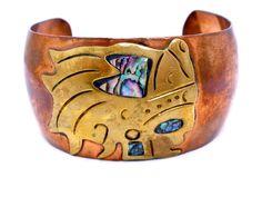 Vintage Metales Casado Copper Bracelet Cuff Cobre Abalone Shell