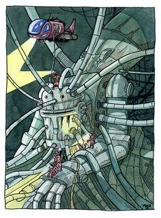 Robot 3. Original, acuarela y tinta. A la venta en yojimbocomics.com