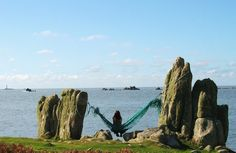 Hammock on the rocks by the campsite at Troytown Farm