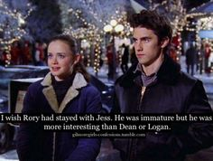Gilmore Girls Confessions. I agree,I loved Jess and he matured later on