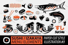 Papercut Style Sushi Elements by A PLANET on @creativemarket