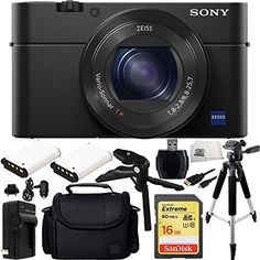 """Sony DSC-RX100M IV DSC-RX100 Mark IV DSC-RX100 IV DSC-RX100M4 Cyber-shot Digital Still Camera 16GB Bundle 12PC Accessory Kit Includes SanDisk 16GB Extreme UHS-I U3 SDHC Class 10 Memory Card (SDSDXN-016G-G46) + High Speed Memory Card Reader + 2 Extended Life Replacement NP-BX1 Batteries + AC/DC Rapid Home & Travel Charger + Full Size Tripod + Pistol Grip/Table Top Tripod + Carrying Case + Micro HDMI Cable + Microfiber Cleaning Cloth. 20.1 MP 1"""" Exmor RS BSI CMOS Sensor; BIONZ X Image..."""