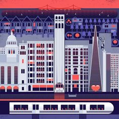 By @andrewahnart -  San Francisco is my favorite city... I spent a lot of time and thought in structuring this piece prior to drawing it.  This is from Powell Bart Station Union Square and north. . Tag #designarf to featured . #art #graphicdesign #conceptart #artist #painting #illustration #vectorart #vector #instaart #dribbble #designer #sanfrancisco #design #graphicdesign #graphic #poster #like #instagood #picoftheday #beautiful #amazing #illustrator #artwork #art by designarf