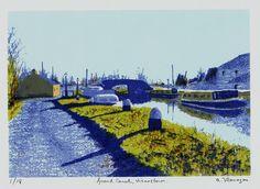 "Items similar to Original Irish Landscape Art Print - Limited Edition Screenprint - Suitable Irish Art Gift - ""Grand Canal Vicarstown"" on Etsy Landscape Prints, Landscape Art, Landscape Design, Irish Landscape, Irish Art, Grand Canal, Tile Art, Lovers Art, Screen Printing"