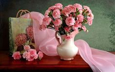 натюрморт, гвоздики, сумка, ваза