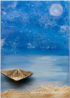Come dipingere il mare - I colori di Laura Primary School Art, Elementary Art, Beach Canvas, Beach Art, Painting For Kids, Art For Kids, Origami Boat, Sea Crafts, Disney And More
