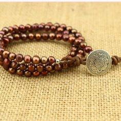5-6 mm potato red bronze handmade fashion pearl bracelet  ETS-B200