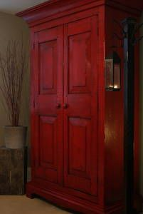 farmhouse style - Love the barn red color antiqued with an expresso glaze