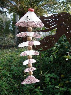 Pottery fish wind mobile big lips clay yard chime purple art ceramic Valerie $25.00