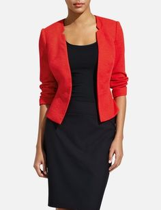 Do you see the inner curved silhouette of this jacket?! This is what you want in a blazer or jacket, ideally, because it will create the illusion of a bigger bust and smaller waist. @Matty Chuah Limited