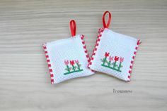 Lavender sachets with red tulips cross stitch by prosinemi on Etsy