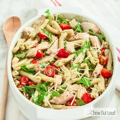 Pesto Pasta Salad with Grilled Chicken Recipe Salads, Main Dishes with boneless skinless chicken breasts, ground black pepper, kosher salt, dried pasta, extra-virgin olive oil, fresh basil leaves, toasted pine nuts, grated parmesan cheese, lemon juice, large garlic cloves, cherry tomatoes, baby arugula