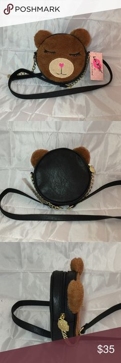 """Betsey Johnson Brown Bear Fur Face Crossbody Purse Ready to cuddle? This Cross body bag features Betsey Johnson signature Lip print  logo. Measurements: 5"""" Diameter. Too cute to describe!! Betsey Johnson Bags Crossbody Bags"""