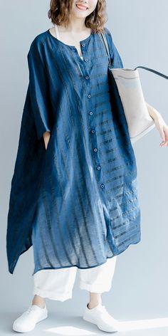 3be570f4cc5 boutique-blue-striped-linen-maxi-dress-trendy-plus-size-O-neck-baggy-dresses -gown-Fine-half-sleeve-side-open-maxi-dresses