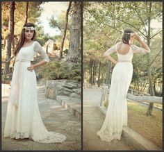 Ivory Lace Boho Wedding Dress 2015 Custom Make Scoop Open Back Floor length Sheath Column Wedding Dresses With Half Sleeves-in Wedding Dresses from Weddings & Events on Aliexpress.com | Alibaba Group