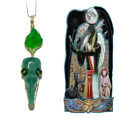 Thoth Crystal Skull Necklace. Green Aventurine, Andara, Moldavite Crystal Healing Jewelry, God of Magic, Astrology, Wisdom, Moon. #956 by AngelsCrystalAlchemy on Etsy