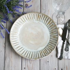 Dinnerware Set of Six Extra Large Dinner Plates in Creamy White Glaze Stoneware Handcrafted Carved Dishes : extra large white dinner plates - pezcame.com