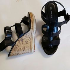 "Call it Spring Sandals Very lightly worn.  Black sandals with buckle. 3 straps. Cork wedge with braided edge.  4 1/2"" wedge heel and 1"" front platform Call It Spring Shoes Sandals"