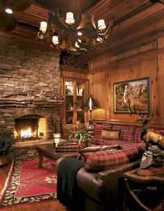 Great Study/Den - love it  #home #decor #wood #fireplace