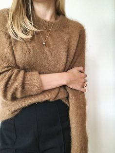 Petite Knit - The Stockholm Sweater is knit from the top down in stockinette stitch with two strands of silk/mohair lace weight yarn held together. Sweater Outfits, Fall Outfits, Looks Street Style, Knit In The Round, Sweater Weather, Pulls, Stockholm, Capsule Wardrobe, Body
