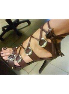 Fashionable Elegant Black & White Coppy Leather Cut-Outs High Heel Sandals