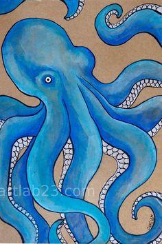 Items similar to Octopus Blue Art Print - - ocean sea creature tentacles nautical marine royal blue beach gouache ink painting on Etsy Octopus Painting, Octopus Wall Art, Fish Art, Ink Painting, Octopus Decor, Sea Art, Blue Art, Elementary Art, Animal Drawings
