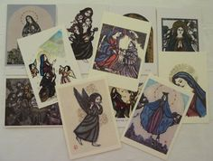 Vintage lot of 11 Japanese Religious Postcards from Japan - Madonna, Child, Angels,
