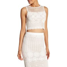 alice + olivia Izzie Cropped Racerback Linen Blend Crochet Tank ($95) ❤ liked on Polyvore featuring tops, crochet tank, white crop tops, white crochet top, crochet tank top and white tank tops