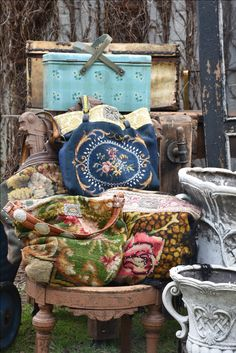Repurposed vintage needlepoint bags by Melody Elizabeth.