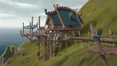 ArtStation - cliff house, Sam Hou Fantasy Art Landscapes, Fantasy Landscape, Minecraft Cliff House, Viking House, Concept Architecture, Classical Architecture, How To Train Dragon, Fantasy House, Paisajes