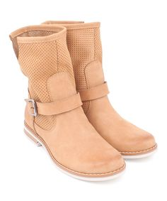 Take a look at this Sand Leather Buckle Ankle Boot today!