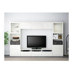 """IKEA - BESTÅ, TV storage combination/glass doors, Lappviken/Sindvik white clear glass, drawer runner, push-open, 118 1/8x15 3/4x75 5/8 """", , The drawers and doors have integrated push-openers, so you don't need handles or knobs and can open them with just a light push.This TV storage combination has plenty of extra storage and makes it easy to keep your living room organized.It's easy to keep the cords from your TV and other devices out of sight but close at hand, as there are several cord…"""