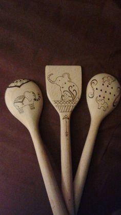 woodburned elephant spoons