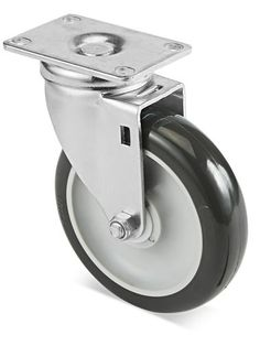 2 Pack 6 Swivel Caster wheels Dust Cover Flat Free Rubber Tire Heavy Duty Castors with 360 Degree Top Bolt Plate Caster CHINA.