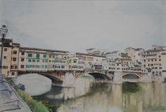 Ponte de Vecchio, (Florence - Italy) aquarelle 55 x 38, Fabriano 300 gr, Original 500 Euro, Exclusive high end imprint on aquarelle paper, 100 Euro 100 Euro, Bridges, Florence, Life, Watercolor Painting